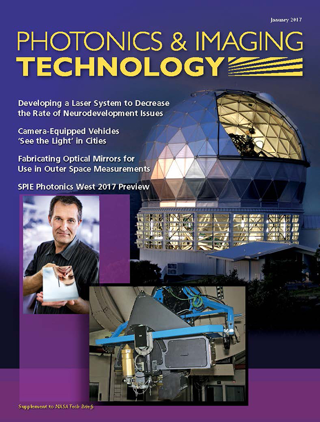 "SMM designed the cover of Photonics & Imaging Technology to preview elements Precision Glass & Optics' feature article on ""Fabricating Optical Mirrors for Use in Outer Space Measurements"""