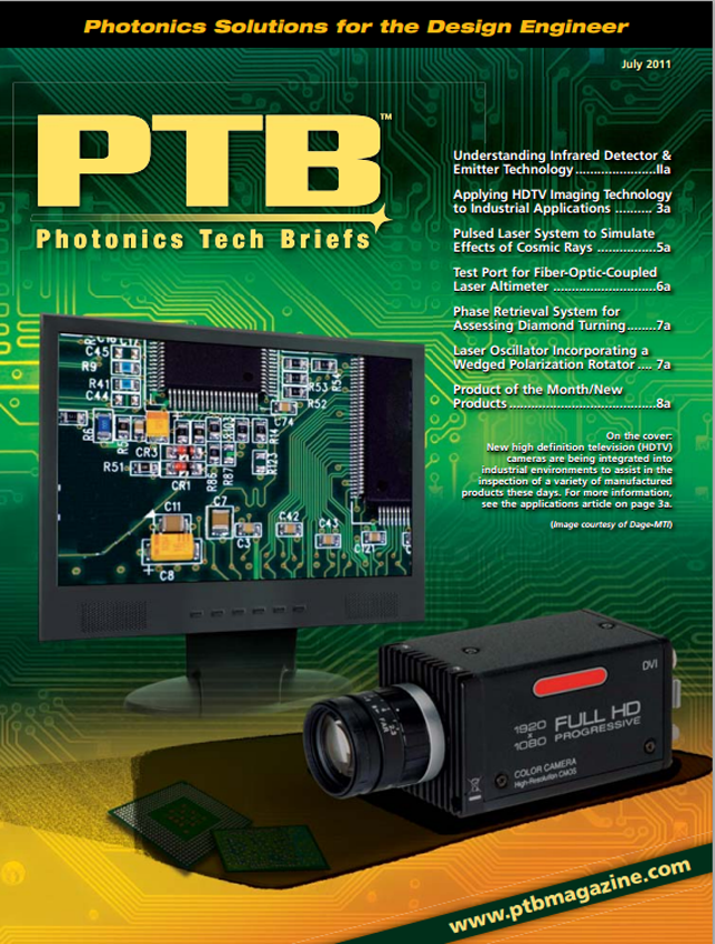 SMM's Photonics Tech Briefs Cover Shows How Dage MTI's System Can Be Used for Industrial Inspection