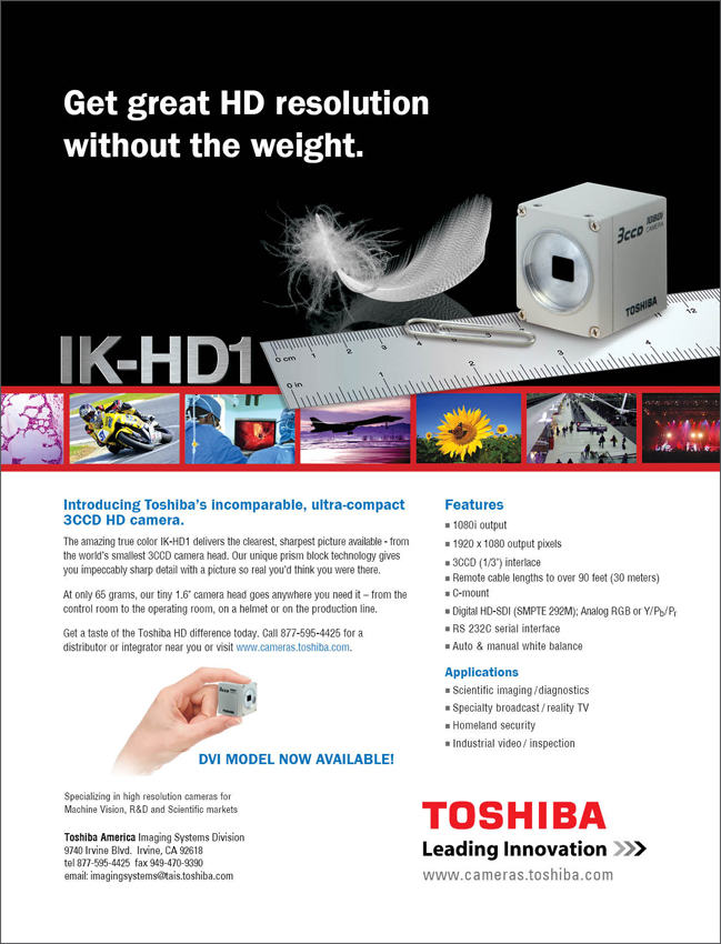Toshiba Imaging IK-HD1 Compact, 3CCD High-Definition Camera Ad