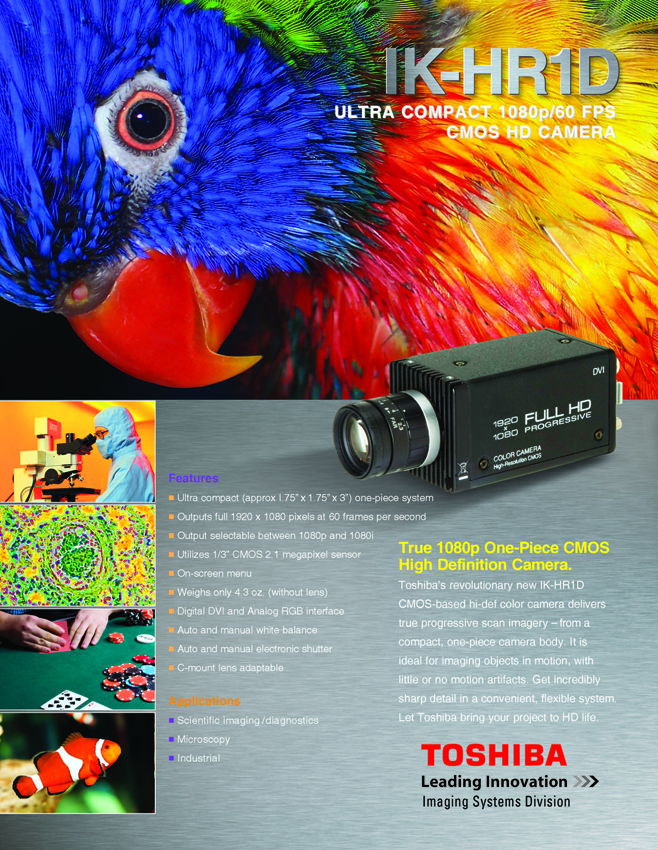 Toshiba Imaging Compact IK-HR1D High-Definition CMOS Camera Data Sheet