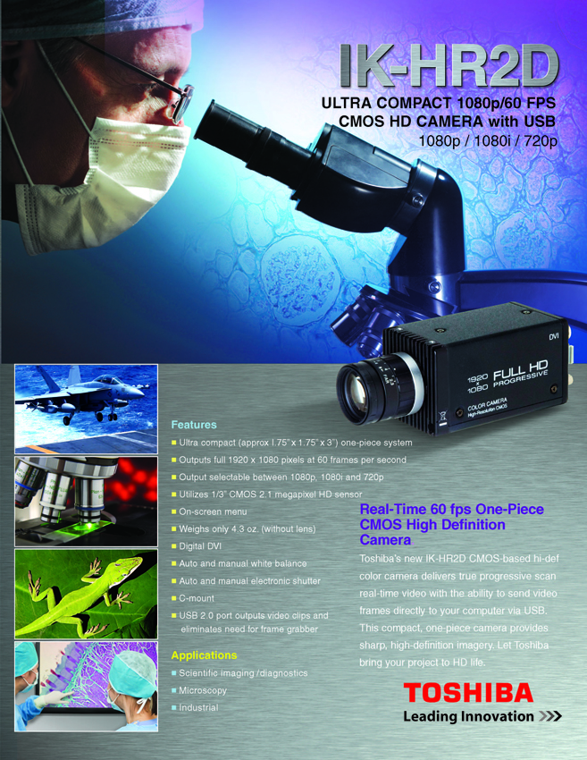 Toshiba Imaging IK-HR2D Compact HD CMOS Camera with USB Data Sheet