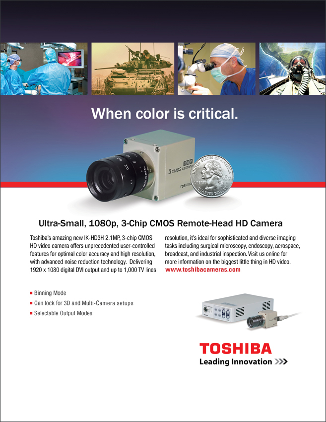 Toshiba Imaging Compact Remote Head 3-Chip CMOS Video Camera Ad